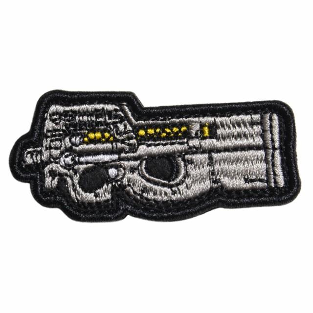 ミリタリーワッペン P90 サブマシンガン 刺繍 ベ...