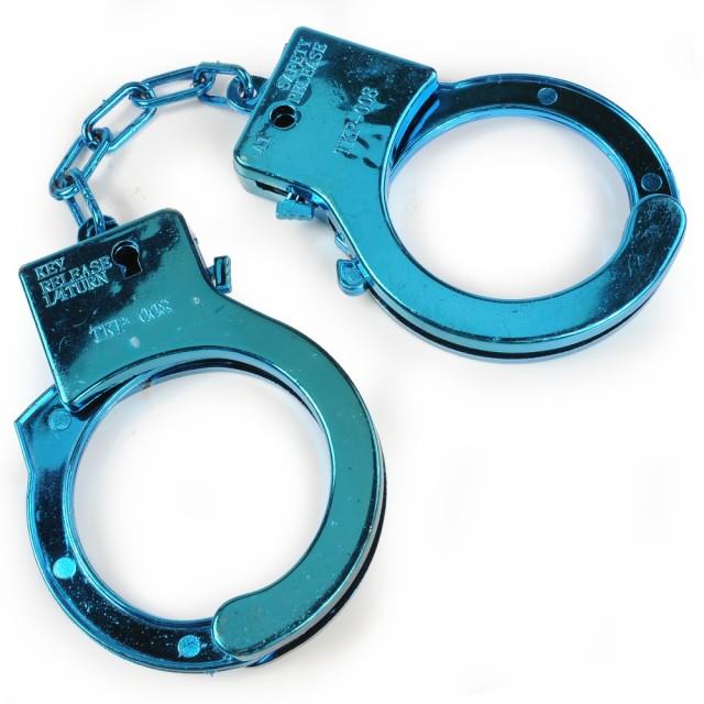 おもちゃ手錠 プラスチック 鍵付き [ ブルー ][re...