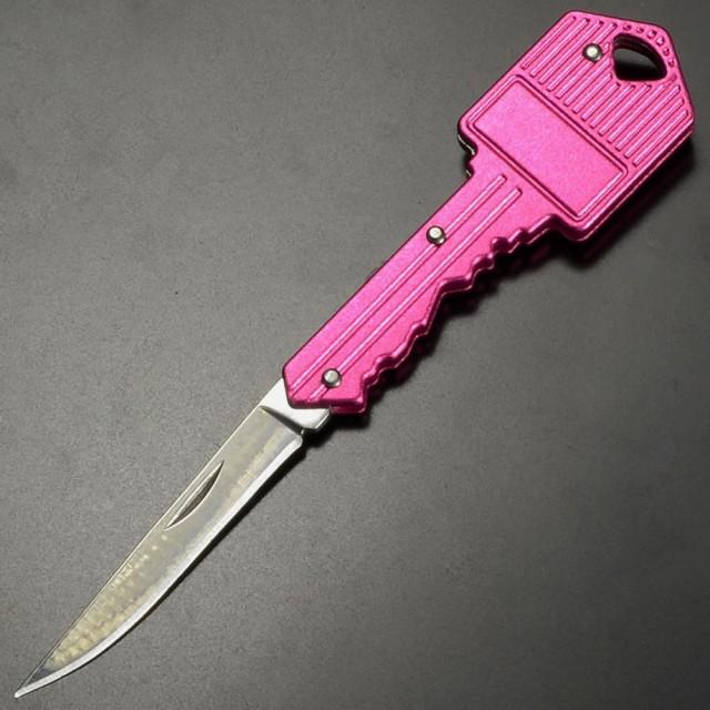 キーホルダーナイフ 鍵型 スチール [ レッド ][re...