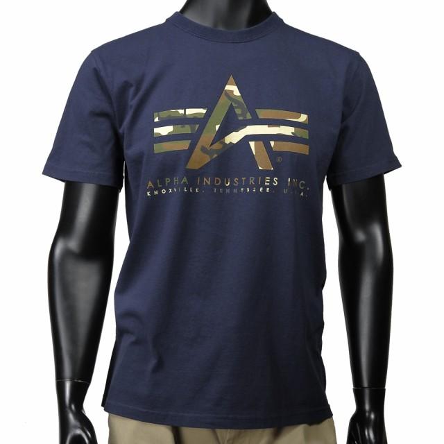 ALPHA 半袖Tシャツ ロゴ 迷彩 TC1041 [ ネイビー ...