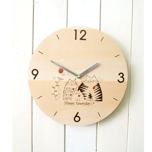 掛時計 猫家族 木製掛け時計 壁掛け時計 おしゃれ...