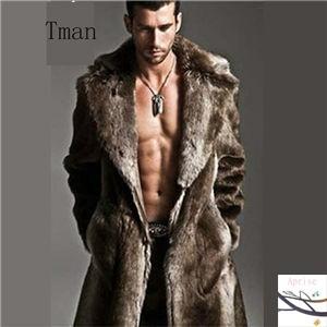 毛皮コート ファーコート メンズ 防寒 ロングコー...
