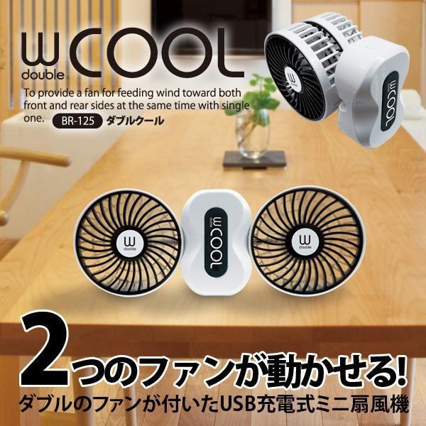 USB充電式 ミニ扇風機 ダブルクール BR-125