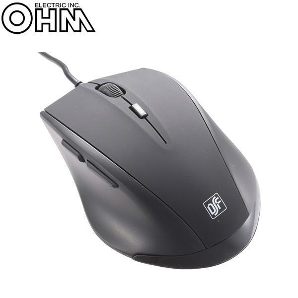 オーム電機 OHM 有線静音 BLUE LED 5ボタンマウス...