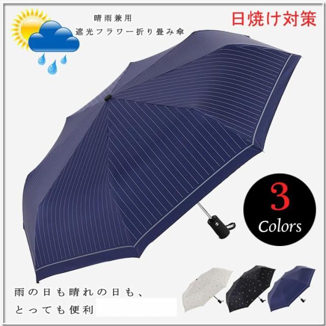 レディース 傘 自動 晴雨兼用 かさ カサ 日傘 完全遮光 折りたたみ 紫外線対策 遮熱 遮光率100% UVカット シンプル 送料無料
