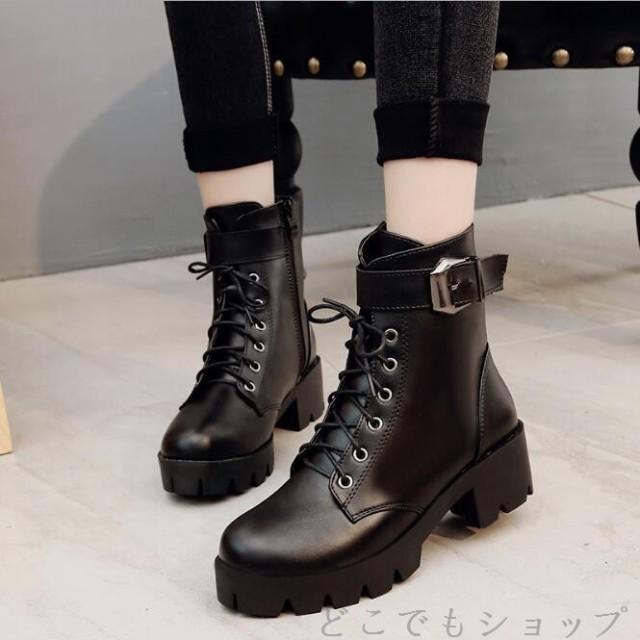 ブーツ ショートブーツ 太ヒールブーツ プラット...