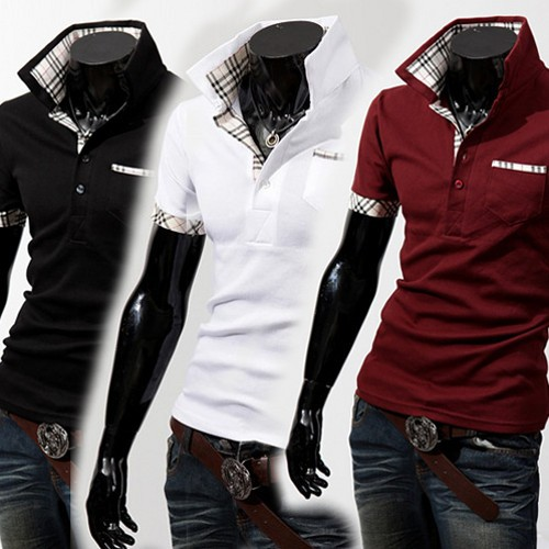 ポロシャツ メンズ 半袖 開襟シャツ おしゃれ 無地 白 スポーツ 七分袖 PAI-448 ポッキリ