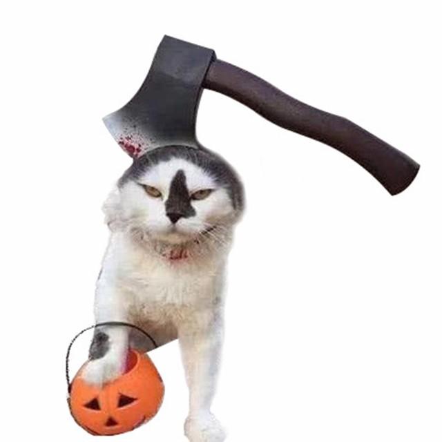 ハロウィン猫犬用ペット怖いヘッドギアコスプレい...