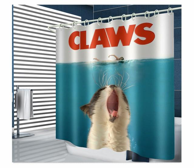 かわいい猫の印刷物の浴室の防水ポリエステル生地...