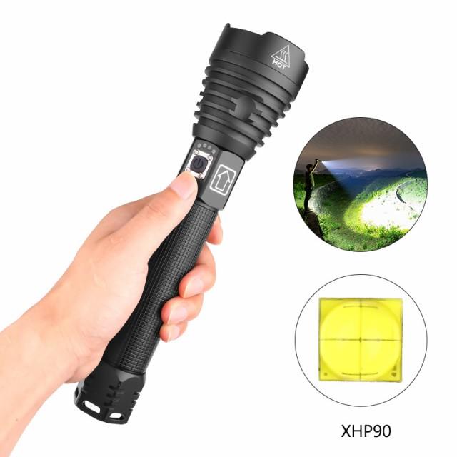 XHP90 LED 3Modes調光高輝度懐中電灯USB充電