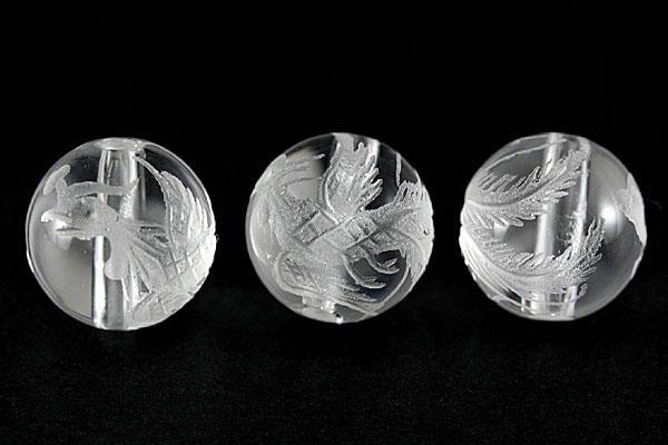 天然石 ビーズ【彫刻ビーズ】水晶 10mm (素彫り) ...