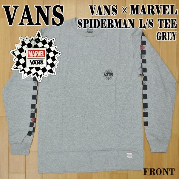 VANS/バンズ VANS×MARVEL SPIDERMAN L/S TEE GRE...