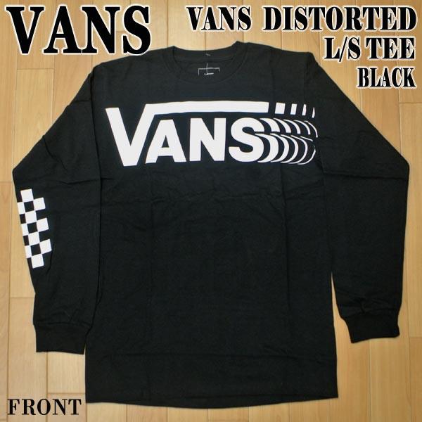 VANS/バンズ VANS DISTORTED L/S TEE BLACK メン...