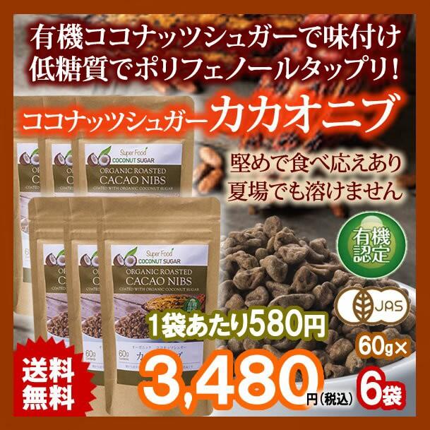 有機カカオニブ ココナッツシュガー味 60g 6袋 ペ...