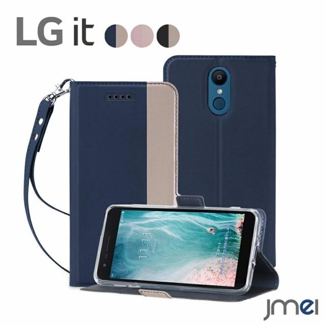 LG it LGV36 ケース 手帳型 ストラップ付き 衝撃...
