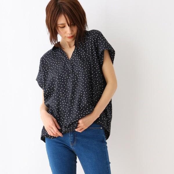 オゾック(OZOC)/【洗える】水玉衿付きスキッパーシャツ