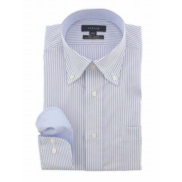 タカキュー(TAKA-Q)/形態安定(ノーアイロン)COOLMAXレギュラーフィットボタンダウンビジネスドレスシャツ