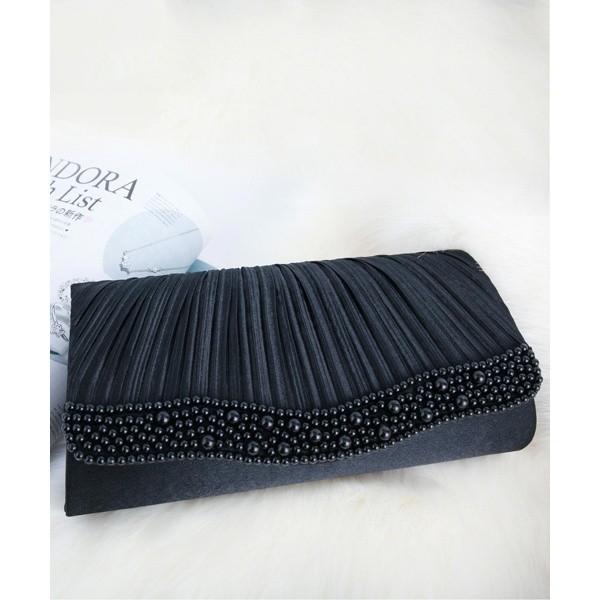 8cb919dacfed ドレススター(DRESS STAR)/パールビジューラディアルサテンプリーツパーティークラッチバッグ