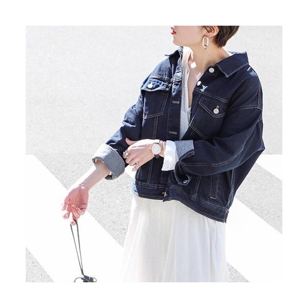 コカ(coca)/シンプルデザインコットンデニムジャケット(Gジャン/長袖/アウター/綿100/オーバーサイズ)