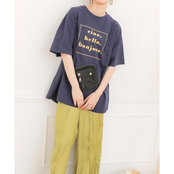 バブ/【WEB限定】bonjourロゴTシャツ/プリントカットソー/ビッグシルエットトップス
