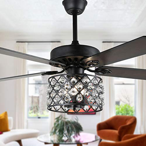 52 Black Drum Ceiling Fan with Crystal Cage Re...