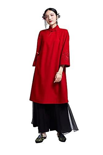 HangErFeng Womens Wool Blend Embroidery Modifi...