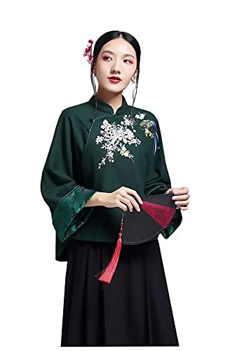 HangErFeng Womens Wool Blend Peony Embroidery ...