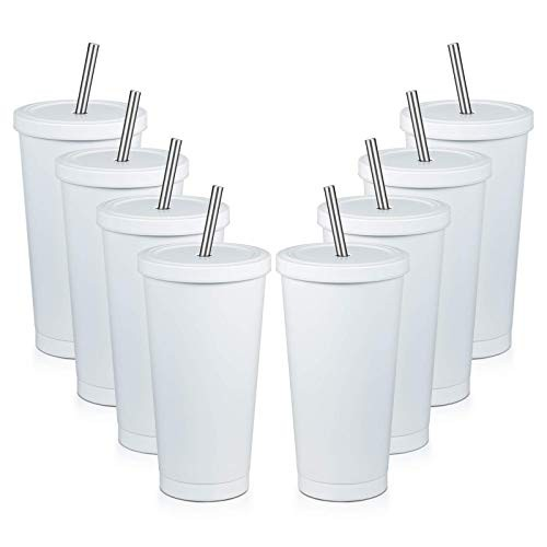 MEWAY 16oz Tumbler with Straw  Lid 8 PackTrave...