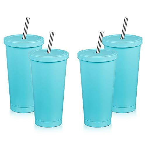 MEWAY 16oz Tumbler with Straw  Lid 4 PackTrave...
