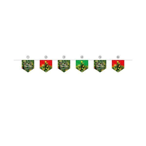 N連続旗 6連 メリークリスマス (W300×H300)×6枚 全長2900mm 40196