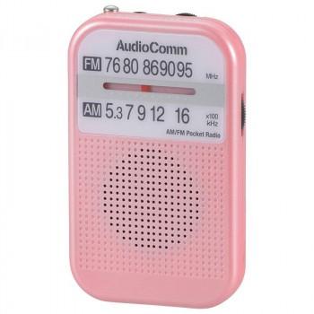 OHM AudioComm AM/FMポケットラジオ ピンク RAD-P...
