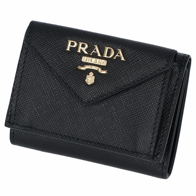 9644ede57b9c プラダ PRADA 2019年春夏新作 三つ折り財布 ミニ財布 レディース サフィアーノ ブラック 1MH021