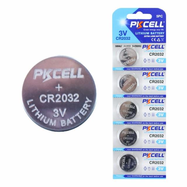 PKCELL BATTERY CR2032-5B 3.0V リチウム ボタン...