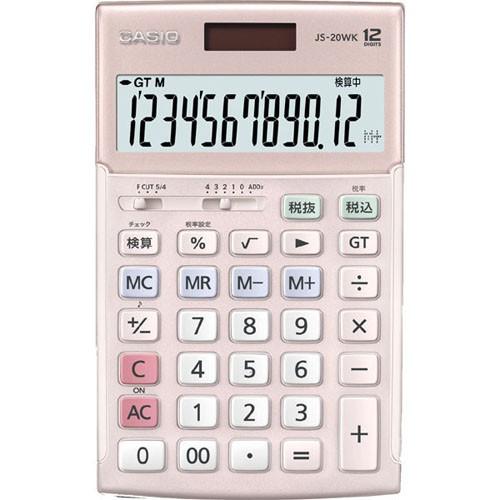 CASIO JS-20WK-PK(ピンク) 実務電卓 12桁