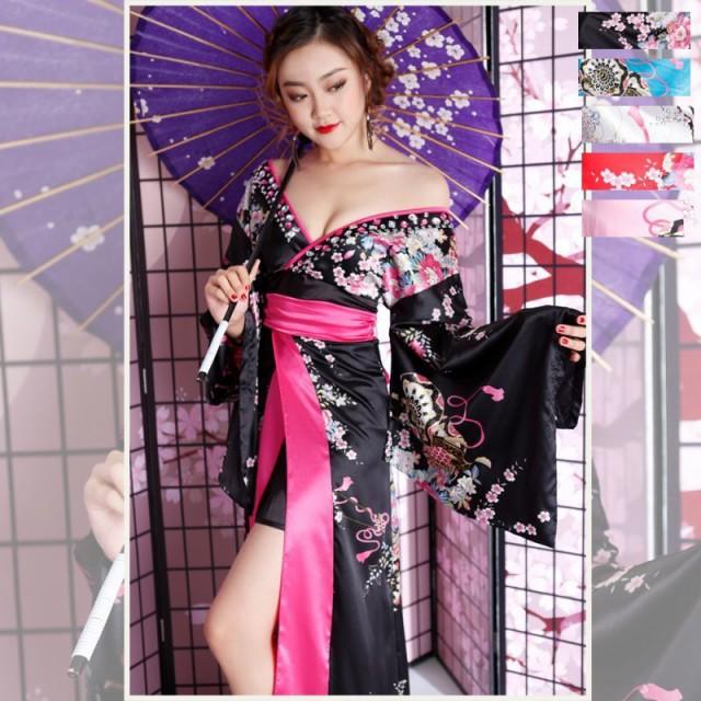 サテン花車リボンロング着物ドレス 和柄 衣装 ダ...