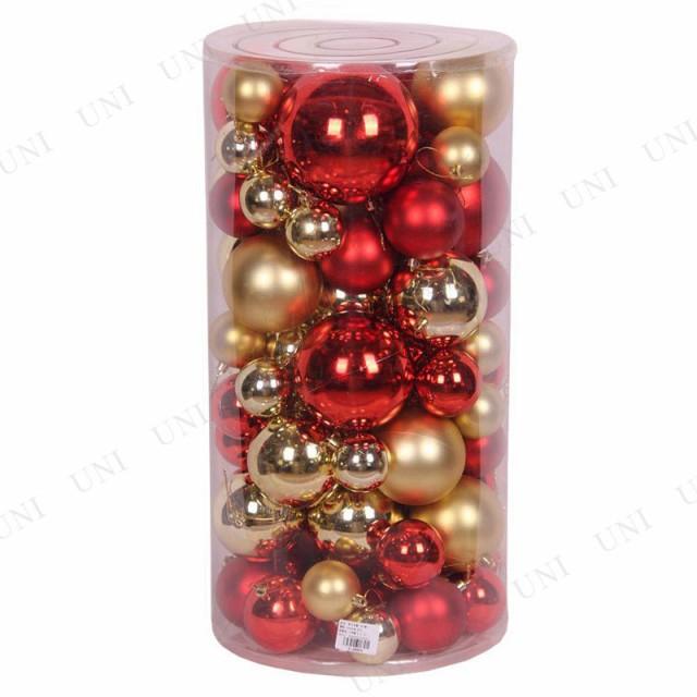 クリスマス ツリー オーナメント ツリー用オーナメント(丸筒ミックスサイズボール レッド/ゴールド) クリスマスパーティー グッズ クリ