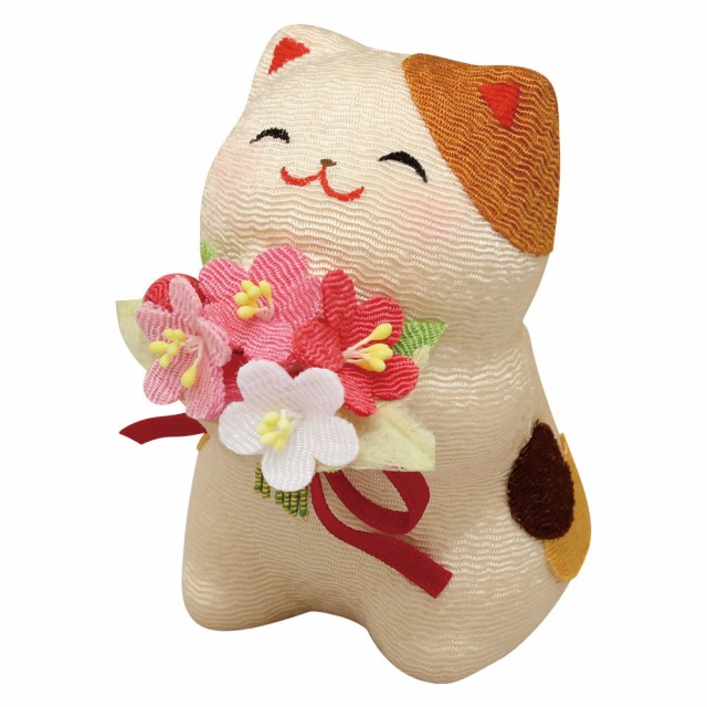「お花の贈り物 三毛猫」手作りちりめん細工 猫...