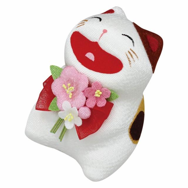 「大笑い花束ネコ 三毛猫」手作りちりめん細工 ...