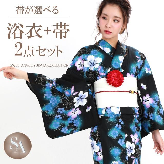 浴衣 レディース 浴衣4点セット 【TK058】 黒 新...