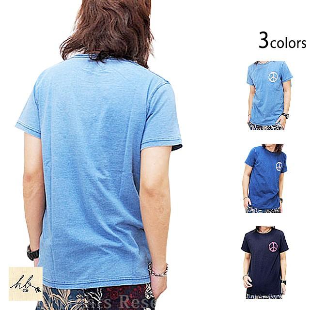 インディゴカットワーク半袖Tシャツ「ピース」◆H...