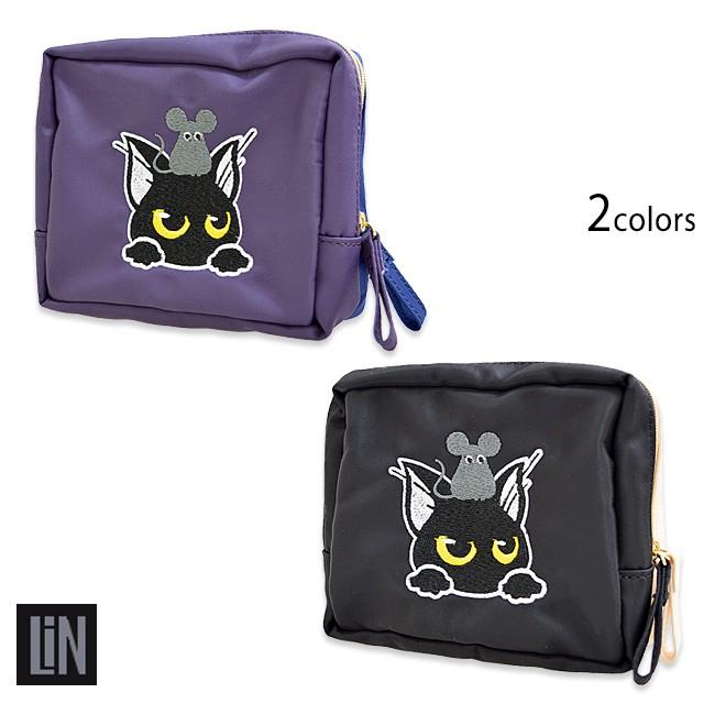 ラミ&アールナイロンポーチ LIN AL-75031 黒猫 ...