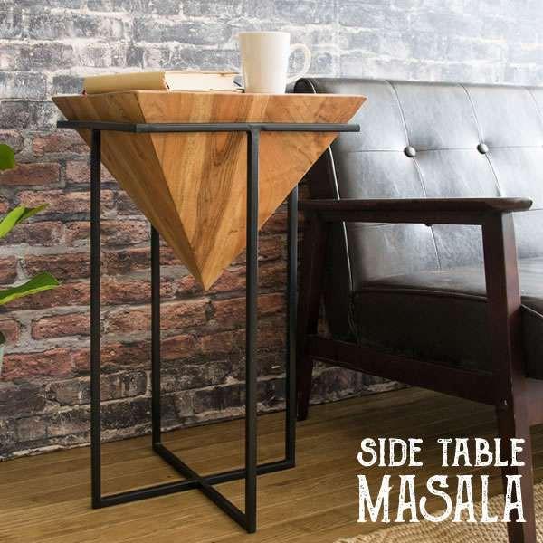 天然木 サイド テーブル 逆三角錐 ハンドメイド M...