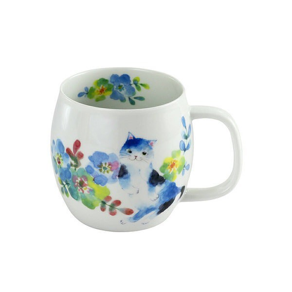 花猫 マグカップ ブルー