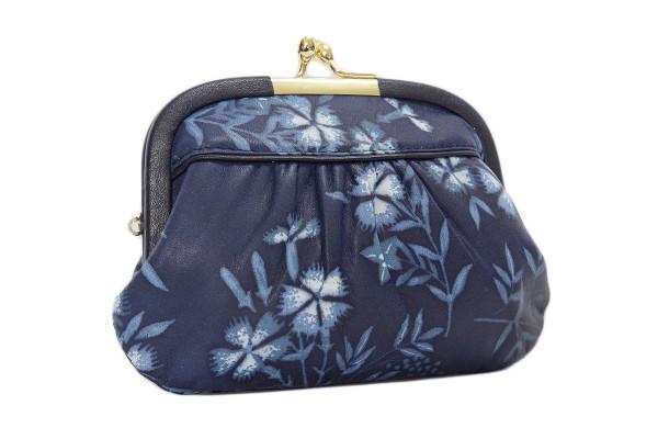昔ながらのがま口財布は心が和む 日本製  藍染 ...