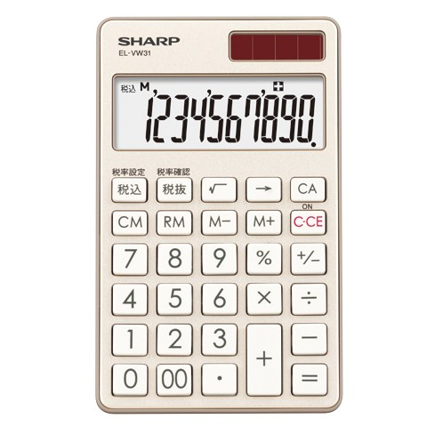 b46f808686 シャープ EL-VW31-NX(シャンパンゴールド) 卓上電卓 10桁 手帳タイプの ...