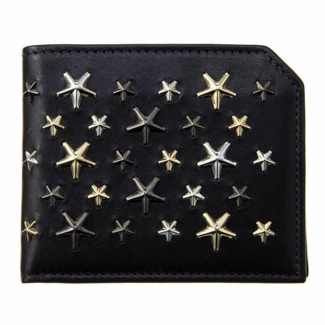 ジミーチュウ メンズ 二つ折り財布/JIMMY CHOO 星柄 レザー 二つ折り財布 送料無料/込 誕生日プレゼント