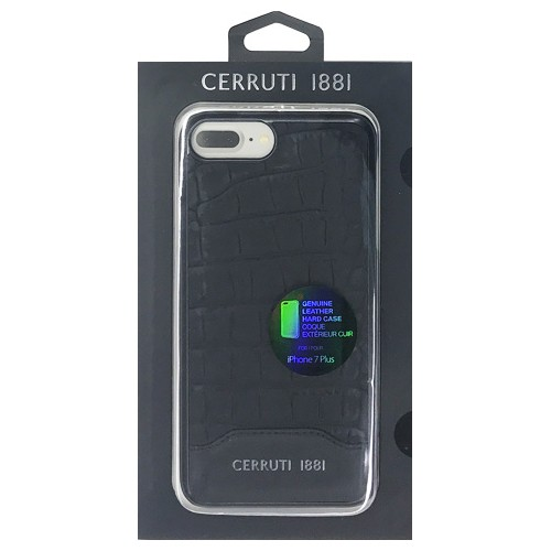 CERRUTI Crocodile Print Leather - Hard Case - Black CEHCP7LM