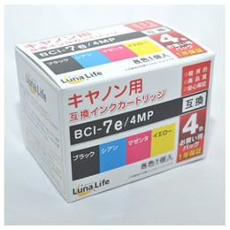 ワールドビジネスサプライ 【Luna Life】 キヤノン用 互換インクカートリッジ BCI-7E/4MP 4本パック