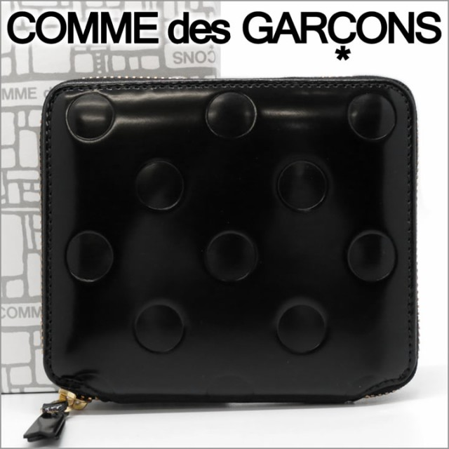 dd86d8c73cf1 コムデギャルソン 二つ折り財布 COMME des GARCONS コンパクト レディース メンズ ドットブラック SA2100NE POLKA  DOTS EMBOSSED