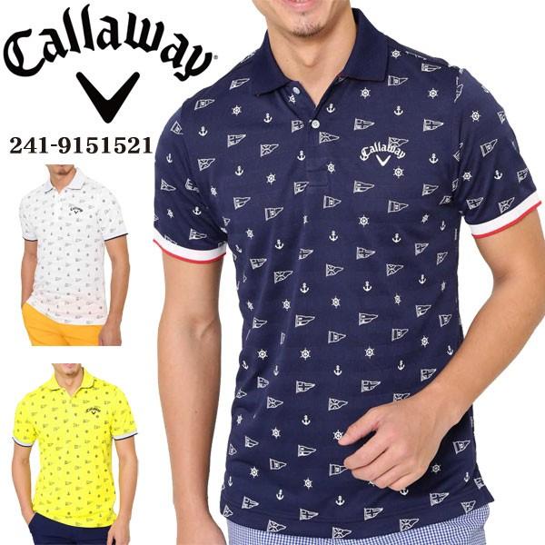 a25fdfdbe4edf キャロウェイ メンズ ゴルフウェア モノグラムプリント 半袖ポロシャツ 241-9151521 2019年春夏モデル